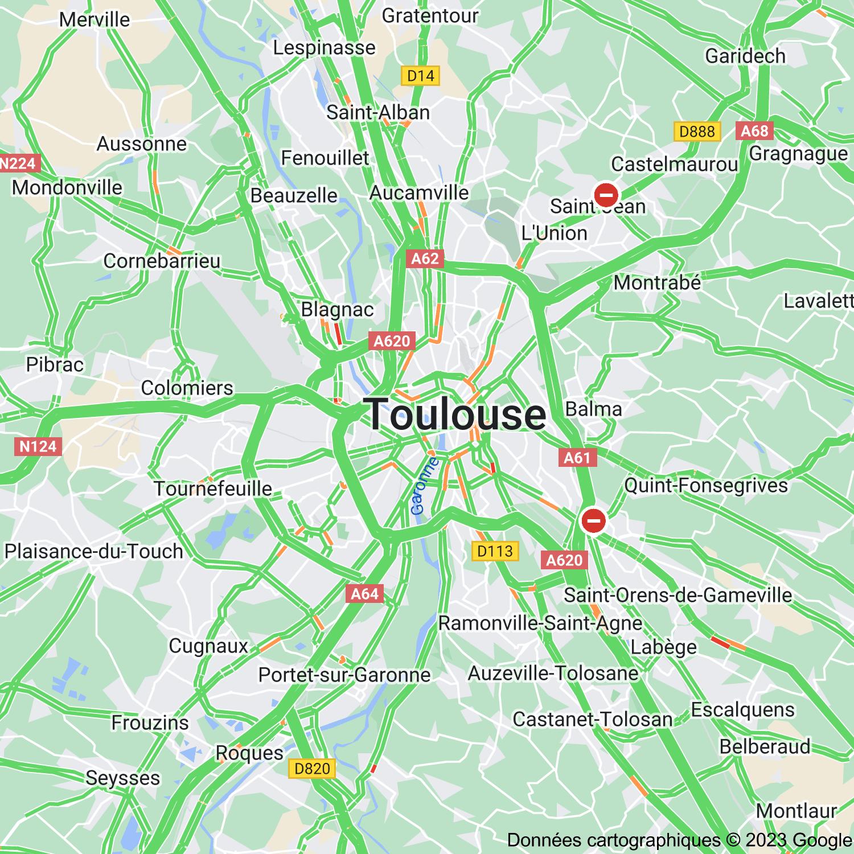 Trafic routier sur le périphérique de Toulouse